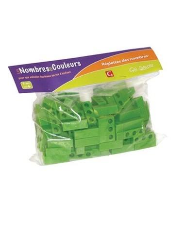 120 reglettes vertes claires de 3 unités